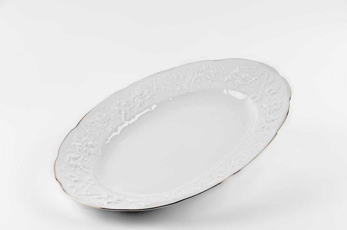 Блюдо овальное, 36 см, цвет: белый с платиной6 912 360 019Блюдо овальное 36 см