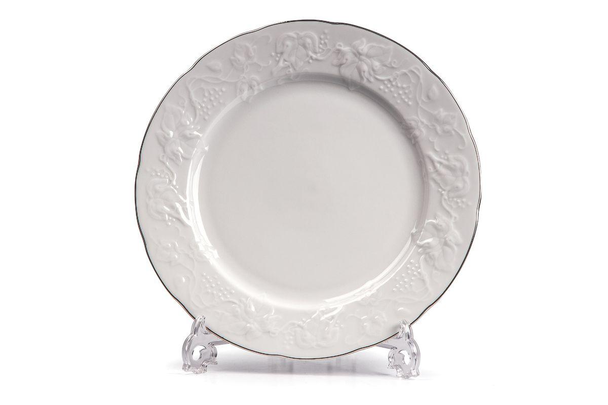 Набор тарелок 21см, 6 шт/уп, цвет: белый с платиной6 990 010 019В наборе тарелка 21 см 6 штук