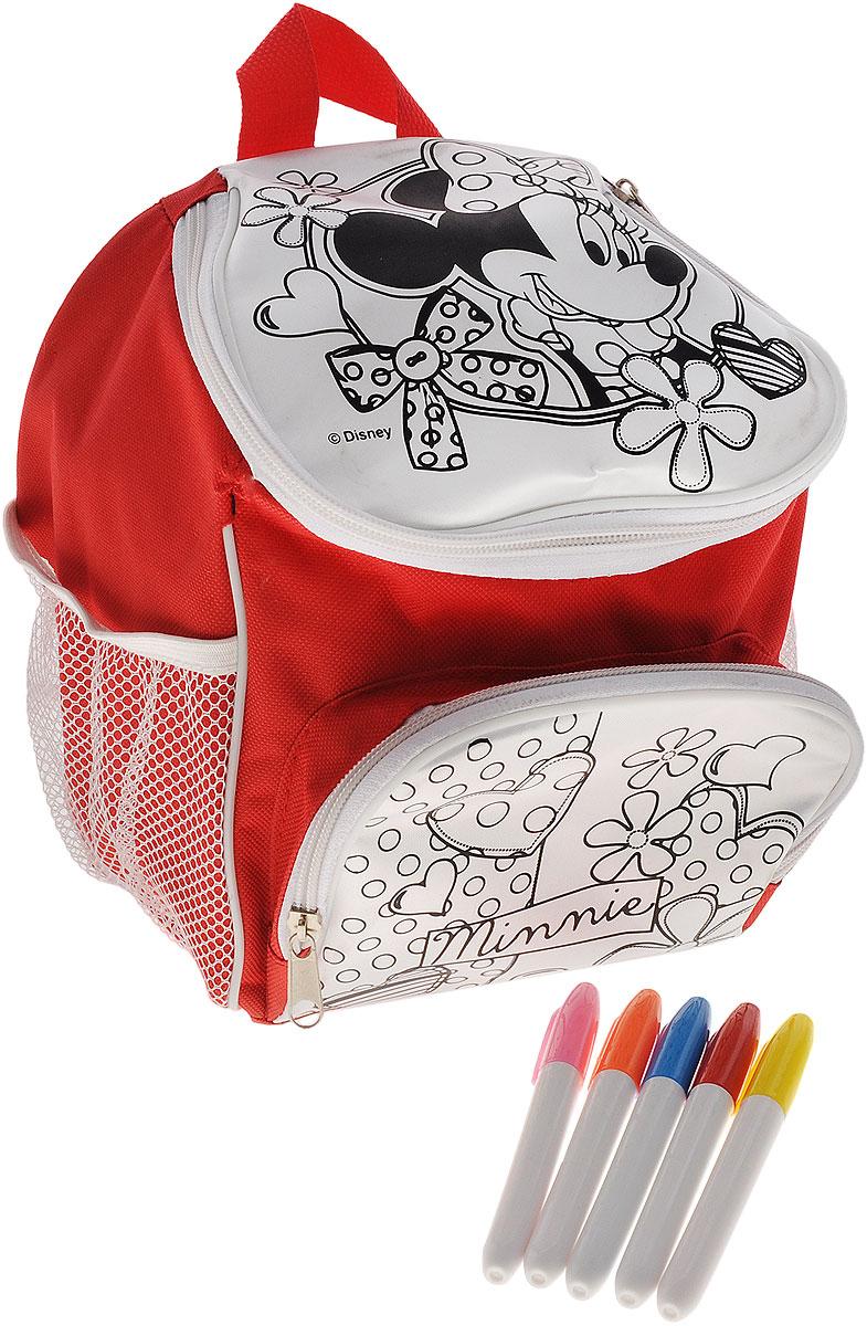 Disney Набор для росписи рюкзака Минни Маус - Disney23242Подарите своей малышке возможность стать дизайнером собственного рюкзачка с помощью набора для росписи Disney Минни Маус. Маленькая модница сама разукрасит его цветными маркерами, которые не смоются и не растекутся под дождем или от стирки. А чтобы рисунок получился интереснее, можно создать новые оттенки, смешав цвета маркеров: для этого надо раскрасить выбранную деталь одним цветом, а сверху другим. С преображенным аксессуаром малютка будет играть и ходить на прогулку. А сколько гордости будет в ее счастливых глазах! Ведь этот рюкзачок будет раскрашен ее собственными руками. Рюкзак имеет одно основное отделение на молнии, внешний карман на молнии и два сетчатых кармана по бокам. Текстильные лямки регулируются по длине, есть текстильная ручка для удобства переноски. В набор входит: рюкзак с нанесенным контуром рисунка, 5 водостойких маркеров. Раскрашенный аксессуар пригоден для ручной стирки при температуре воды до 30°C.