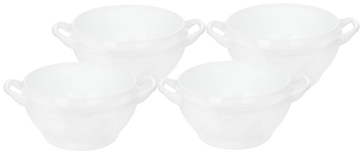 Набор салатников Luminarc Opale, 4 штJ3231Набор Luminarc Opale состоит из четырех круглых салатников с ручками. Изделия выполнены из прозрачного ударопрочного стекла. Такие салатники прекрасно подходят для сервировки различных закусок, подачи легких салатов из свежих овощей и фруктов, соусов. Посуда отличается прочностью, гигиеничностью, устойчивостью к резким перепадам температур и долгим сроком службы. Такой набор прекрасно подойдет для повседневного использования. Изделия можно мыть в посудомоечной машине и использовать в СВЧ-печи. Диаметр салатников: 12,5 см. Высота стенки салатников: 7 см.