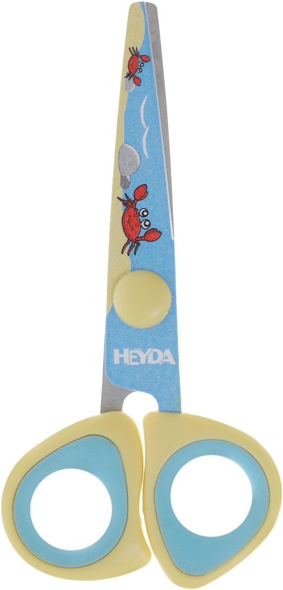 Heyda Ножницы детские цвет голубой желтый48895-42\BCD_голубой, желтыйДетские ножницы Heyda предназначены для детского творчества и художественно-оформительских работ. Лезвия выполнены из высококачественной нержавеющей стали. Облегченные пластиковые ручки с прорезиненными вставками адаптированы для детской руки. Ножницы имеют закругленный концы, что делает эксплуатацию безопасной.