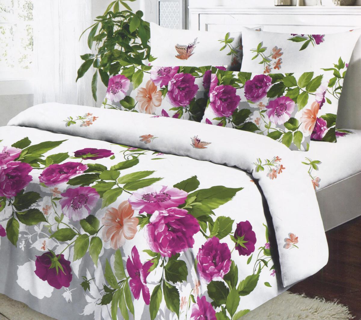 Комплект белья Коллекция Пионы в цвету, 2-спальный, наволочки 70х70, цвет: белый, фиолетовый, зеленыйОБК-2/70 5074.1Комплект белья Коллекция Пионы в цвету выполнен из бязи (100% натурального хлопка). Комплект состоит из двух пододеяльников, простыни и двух наволочек. Постельное белье оформлено ярким красочным рисунком. Хорошая, качественная бязь всегда ценилась любителями спокойного и комфортного сна. Гладкая структура делает ткань приятной на ощупь, мягкой и нежной, при этом она прочная и хорошо сохраняет форму. Благодаря такому комплекту постельного белья вы сможете создать атмосферу роскоши и романтики в вашей спальне.