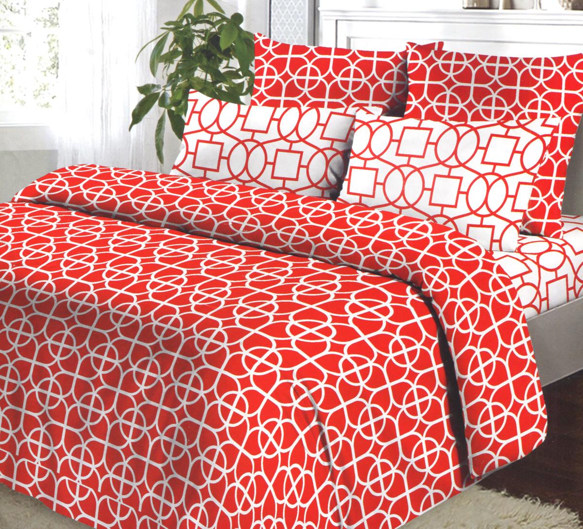 Комплект белья Коллекция Гео, 1,5-спальный, наволочки 50х70, цвет: красный, белыйОБК-1,5/50 5047/1:5048/1Комплект постельного белья Коллекция Гео выполнен из бязи (100% натурального хлопка). Комплект состоит из пододеяльника, простыни и двух наволочек. Постельное белье оформлено ярким красочным рисунком. Хорошая, качественная бязь всегда ценилась любителями спокойного и комфортного сна. Гладкая структура делает ткань приятной на ощупь, мягкой и нежной, при этом она прочная и хорошо сохраняет форму. Благодаря такому комплекту постельного белья вы сможете создать атмосферу роскоши и романтики в вашей спальне.