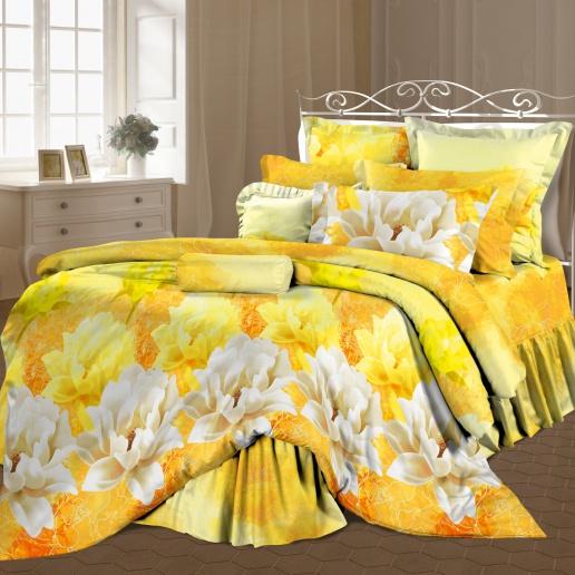 Комплект белья Romantic Солнечное настроение, семейный, наволочки 70x70, цвет: белый, желтый314933Комплект постельного белья Romantic Солнечное настроение является экологически безопасным, так как выполнен из 100% хлопка. Комплект состоит из пододеяльника, простыни и двух наволочек. Постельное белье оформлено красивым цветочным рисунком и имеет изысканный внешний вид. Постельное белье Romantic Солнечное настроение - лучший выбор для современной хозяйки! Его отличают демократичная цена и отличное качество. Бязь мягкая и приятная на ощупь. Кроме того, эта ткань не требует особого ухода, легко стирается и прекрасно держит форму. Высококачественные красители, которые используются при производстве постельного белья, сохраняют свой цвет даже после многочисленных стирок. Благодаря высокому качеству ткани и европейским стандартам пошива постельное белье Romantic Солнечное настроение будет радовать вас долгие годы!