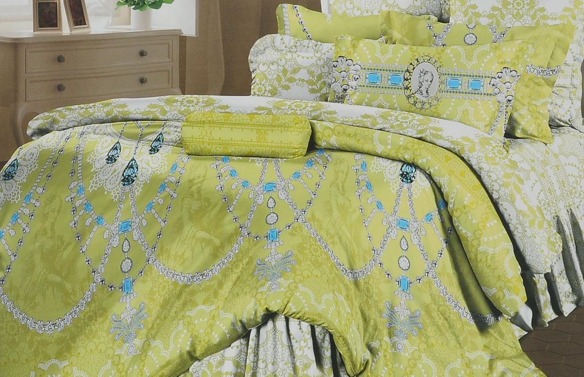 Комплект белья Романтика Роскошь, 1,5-спальный, наволочки 70х70, цвет: белый, зеленый325021Комплект постельного белья Романтика Роскошь является экологически безопасным, так как выполнен из перкали (100% хлопка). Комплект состоит из пододеяльника, простыни и двух наволочек. Постельное белье оформлено красивым цветочным рисунком и имеет изысканный внешний вид. Постельное белье Романтика Роскошь - лучший выбор для современной хозяйки! Его отличают демократичная цена и отличное качество. Перкаль мягкая и приятная на ощупь. Кроме того, эта ткань не требует особого ухода, легко стирается и прекрасно держит форму. Высококачественные красители, которые используются при производстве постельного белья, сохраняют свой цвет даже после многочисленных стирок. Благодаря высокому качеству ткани и европейским стандартам пошива постельное белье Романтика Роскошь будет радовать вас долгие годы!
