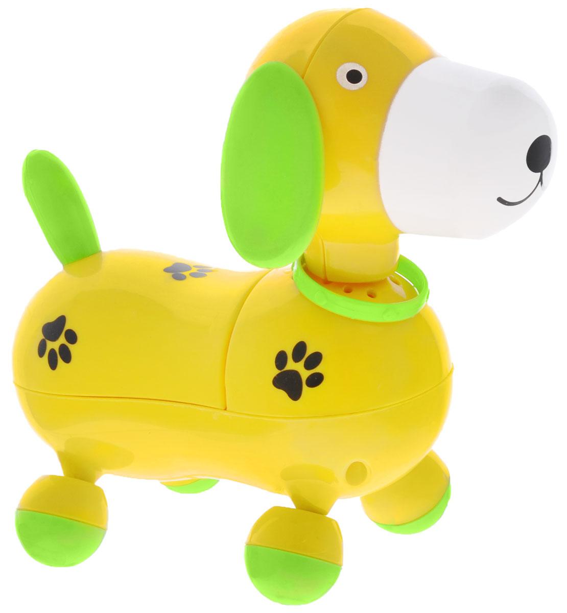 Mommy Love Электронная развивающая игрушка Веселый щенок цвет желтый219_желтыйЭлектронная развивающая игрушка Mommy Love Веселый щенок приведет в восторг вашего малыша. Игрушка выполнена из высококачественного и безопасного пластика в виде очаровательного щенка. При включении игрушка начинает двигаться вперед и при этом звучит веселая мелодия. Ножки щенка прокручиваются со звуком трещотки. За такой игрушкой ребенок с удовольствием будет двигаться, становясь более ловким, сильным и быстрым. А веселая мелодия будет служить отличным аккомпанементом в его подвижных играх. Порадуйте ребенка таким замечательным подарком! Рекомендуется докупить 2 батарейки напряжением 1,5V типа АА (товар комплектуется демонстрационными).