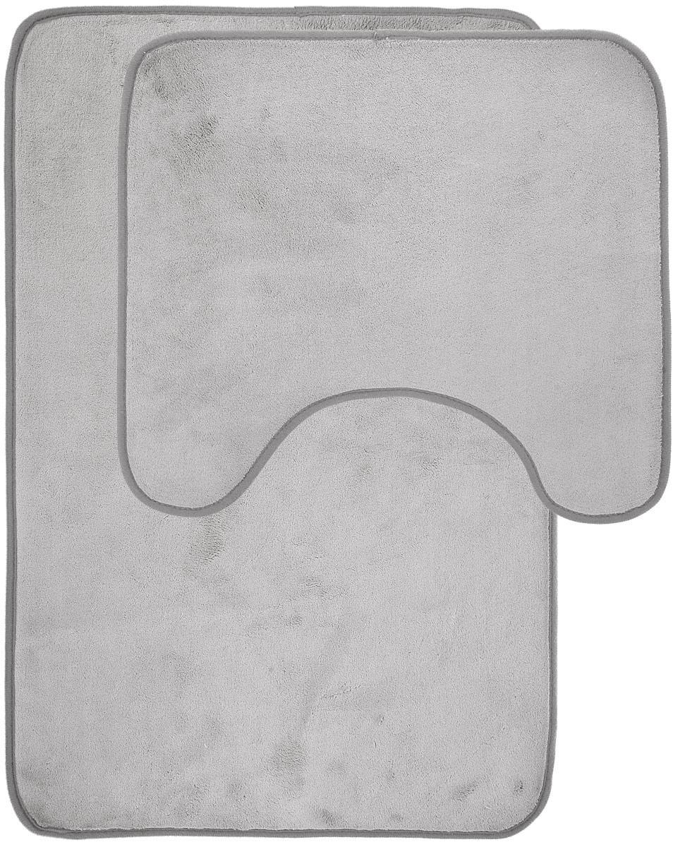 Набор ковриков для ванной Miolla, цвет: серый, 2 штAB75GНабор Miolla состоит из двух ковриков для ванной комнаты: прямоугольного и с вырезом. Изделия изготовлены из 100% полиэстера. Благодаря специальной обработки нижней стороны, коврики не скользят на плитке. Изделия послужат прекрасным дополнением к интерьеру и порадуют вас своей функциональностью. Размер ковриков: 75 см х 48 см, 45 см х 40 см. Высота ворса: 0,3 см.