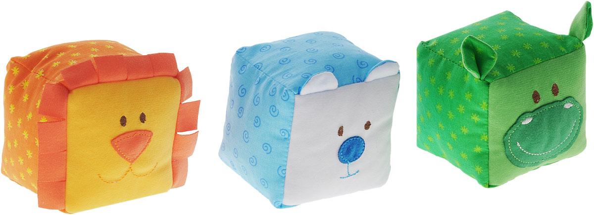 Мякиши Мягкие кубики ЗооМякиши Животные цвет оранжевый голубой зеленый 3 шт246_оранжевый, голубой, зеленый_оранжевый, голубой, зеленыйМягкие кубики Мякиши ЗооМякиши: Животные помогут вашему ребенку увлекательно и с пользой провести время. Набор состоит из трех разноцветных кубиков, выполненных в виде животных: мишки, льва и бегемота. С помощью кубиков ваш ребенок познакомится с животными и сможет научиться первым навыкам конструирования. Кубики порадуют ребенка яркими цветами, милыми мордочками, а также разнообразием фактур. Внутри мишки спрятана погремушка, внутри льва - мелодичный колокольчик, а внутри бегемотика находится веселая пищалка. Кубики выполнены из высококачественной ткани с мягким наполнителем. Удачно подобранный размер, цвет и понятные рисунки помогут вашему малышу развить мышление, координацию движений и мелкую моторику рук, а также в игровой форме познакомиться с окружающим миром.