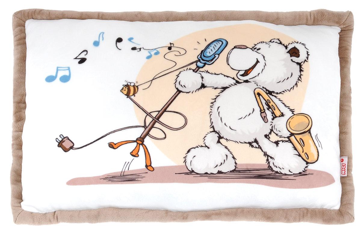 Nici Мягкая игрушка-подушка Медвежонок 58 см36978Мягкая игрушка-подушка Nici Медвежонок не оставит равнодушным вашего ребенка. Мягкая и приятная на ощупь подушка прямоугольной формы выполнена из плюша с мягкой набивкой и оформлена рисунком в виде симпатичного медвежонка и контрастной окантовкой. Подушка удивительно приятна на ощупь. Необычайно мягкая, она принесет радость и подарит своему обладателю мгновения нежных объятий и приятных воспоминаний. Такая игрушка-подушка станет отличным аксессуаром для детской комнаты.