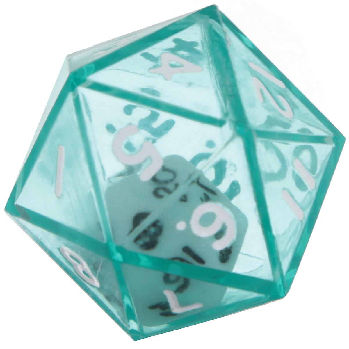 Koplow Games Кость игральная D20 в D20 цвет зеленый12470_зеленыйИгральная кость D20 в D20 состоит из прозрачной кости D20 с такой же костью внутри. На каждую треугольную грань игральной кости нанесены числа числа от 1 до 20. Целью игральной кости является демонстрация случайно определенного числа, каждое из которых является равновозможным благодаря правильной геометрической форме. Игральная кость выполнены из прочного пластика. Не рекомендуется детям до 3-х лет.