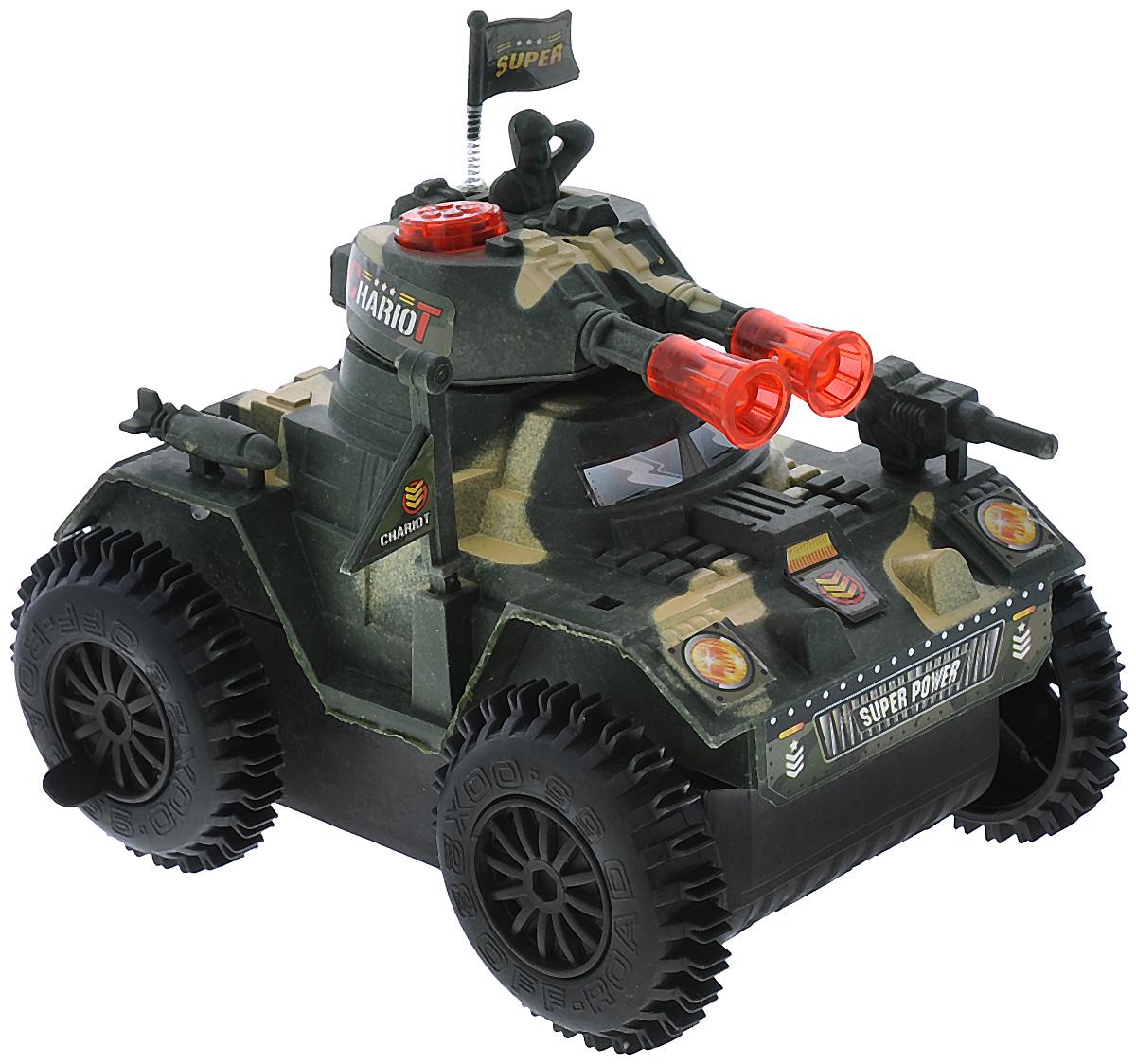 Junfa Toys Танк со световыми и звуковыми эффектами цвет зеленый бежевый2102B/2103B_зеленый с бежевыми пятнамиТанк Junfa Toys, со световыми и звуковым эффектами привлечет внимание не только ребенка, но и взрослого и станет отличным подарком любителю военной техники. После включения танк начинает двигаться, а при столкновении с препятствием он поворачивается и продолжает движение. Танк изготовлен из современных прочных материалов, устойчивых к небольшим крушениям, колеса прорезинены. Порадуйте своего ребенка таким замечательным подарком! Необходимо докупить 3 батареи напряжением 1,5V типа АА (не входят в комплект).