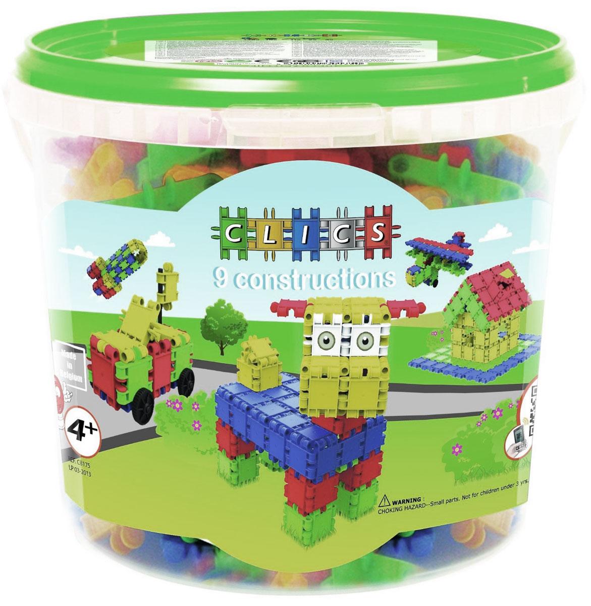 Clics Конструктор 9 моделейCB175Конструктор Clics - отличный набор для всестороннего развития вашего ребенка. Особенность конструктора заключается в том, что он позволяет ребенку строить бесконечные забавные модели, руководствуясь своей фантазией или по прилагаемой инструкции (домик, собачку, самолет и многое другое). Элементы конструктора выполнены в ярких цветах. Все наборы Clics легко дополняют друг друга и помимо неимоверного количества игровых построек, позволяют собирать геометрические фигуры, выкладывать разноцветные орнаменты. Конструктор способствует творческому развитию, а также развитию логического мышления, мелкой моторики рук, стимулирует стремление к поиску решений задач. Набор удобен в хранении, все детали укомплектованы в легкое пластмассовое ведерко с ручкой. Конструктор содержит: 148 элементов, 10 колес, 11 осей, 2 фаркопа, 4 пирамидки, наклейки, буклет.