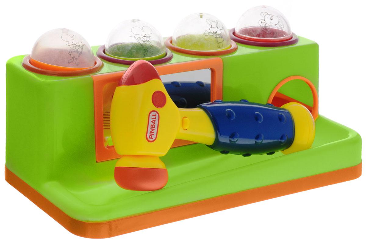 Junfa Toys Игрушка-сортер с молотком цвет зеленый599_зеленыйЯркая игрушка-сортер Junfa Toys со звуковыми и световыми эффектами обязательно понравится малышу и доставит ему много удовольствия. Игрушка выполнена из прочного безопасного пластика. Задачей ребенка является опустить шарик в отверстие, ударяя по нему молоточком, при этом будут раздаваться различные звуки и загораться огоньки. Благодаря склону на сортере шарики будут сами выкатываться. В комплект входит молоточек и 4 шарика, на которых изображены веселые мышки. Занятия с такой игрушкой помогут малышу развить цветовое и звуковое восприятия, воображение. Для работы игрушки необходимы 2 батарейки напряжением 1,5V типа АА (не входят в комплект).