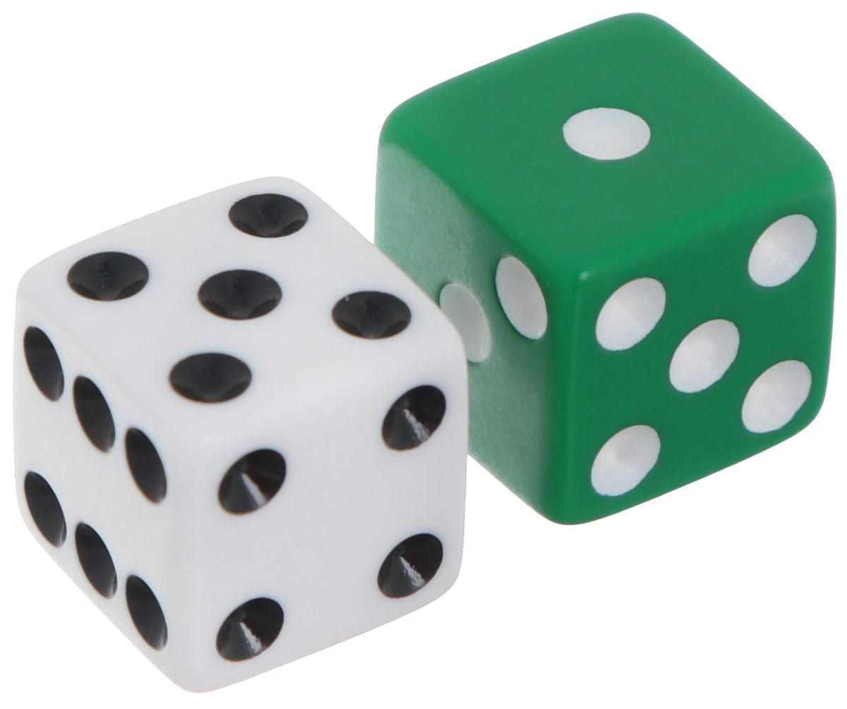 Koplow Games Набор игральных костей Простые D6 цвет белый зеленый 2 шт2000_белый, зеленыйНабор игральных костей Простые предназначен для настольных игр. Набор состоит из двух шестигранных костей, на каждую грань которых нанесены числа от 1 до 6. Целью кубика является демонстрация случайно определенного целого числа от одного до шести, каждое из которых является равновозможным благодаря правильной геометрической форме. Игральные кости выполнены из прочного пластика. Не рекомендуется детям до 3-х лет.
