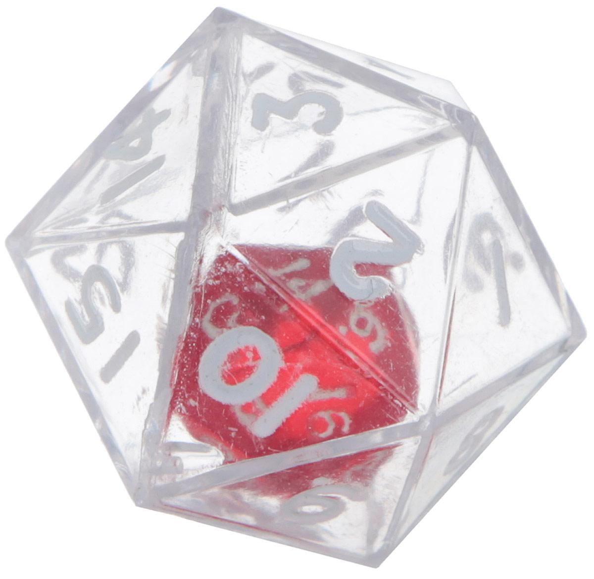 Koplow Games Кость игральная D20 в D20 цвет прозрачный12470_прозрачныйИгральная кость D20 в D20 состоит из прозрачной кости D20 с такой же костью внутри. На каждую треугольную грань игральной кости нанесены числа числа от 1 до 20. Целью игральной кости является демонстрация случайно определенного числа, каждое из которых является равновозможным благодаря правильной геометрической форме. Игральная кость выполнены из прочного пластика. Не рекомендуется детям до 3-х лет.