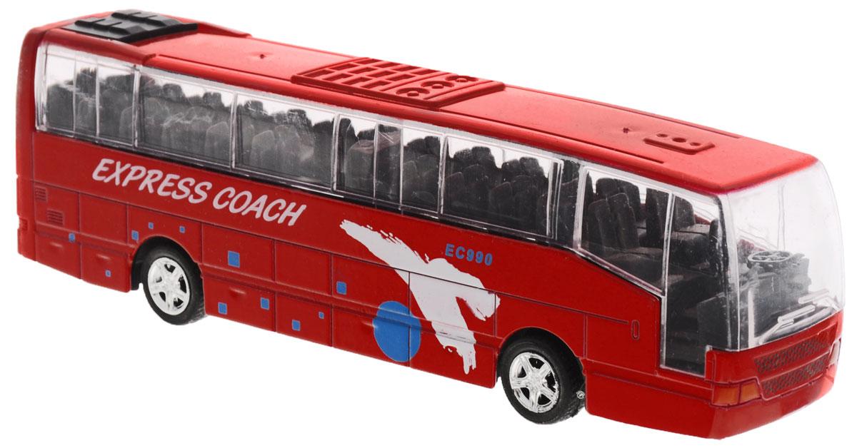 Big Motors Автобус инерционный Cheerful Bus цвет красный27893-80136L;XL80136L_красныйИнерционная игрушка Big motors Cheerful Bus выполненная из пластика и металла, станет любимой игрушкой вашего малыша. Игрушка представляет собой модель автобуса с надписью Express Coach. При нажатии на крышу замигает внутренняя подсветка, раздастся звук работающего двигателя и веселая музыка. Игрушка оснащена инерционным ходом. Автобус необходимо отвести назад, затем отпустить - и он быстро поедет вперед. Прорезиненные колеса обеспечивают надежное сцепление с любой гладкой поверхностью. Ваш ребенок будет часами играть с этой игрушкой, придумывая различные истории. Порадуйте его таким замечательным подарком! Для работы игрушки необходимы 3 батарейки типа LR44 (товар комплектуется демонстрационными).