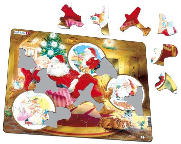 Larsen Пазл Санта Клаус JUL2JUL2Веселый Санта Клаус с огромным мешком подарков доставит удовольствие как малышам, так и детям более старшего возраста. Многообразие форм вырубки и различные размеры отдельных элементов способствуют развитию мелкой моторики у малышей. Сделанные из высококачественного трехслойного картона, они не деформируются и легко берутся в руки. Все пазлы снабжены специальной подложкой, благодаря чему их удобно собирать. Прекрасный подарок к Новому Году и Рождеству.