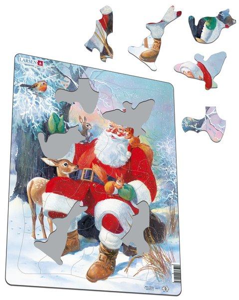 Larsen Пазл Санта с животными JUL7JUL7Веселый Санта Клаус с огромным мешком подарков доставит удовольствие как малышам, так и детям более старшего возраста в виде превосходного пазла от компании Ларсен. Различные формы вырубки и размеры отдельных элементов способствуют развитию мелкой моторики у малышей. Сделанные из высококачественного трехслойного картона, они не деформируются и легко берутся в руки. Все пазлы имеют специальную подложку, благодаря чему их удобно собирать.