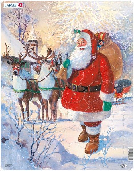Larsen Пазл Санта в санях JUL8JUL8Веселый Санта Клаус с огромным мешком подарков доставит удовольствие как малышам, так и детям более старшего возраста. Многообразие форм вырубки и различные размеры отдельных элементов способствуют развитию мелкой моторики у малышей. Сделанные из высококачественного трехслойного картона, они не деформируются и легко берутся в руки. Все пазлы снабжены специальной подложкой, благодаря чему их удобно собирать. Прекрасный подарок к Новому Году и Рождеству.
