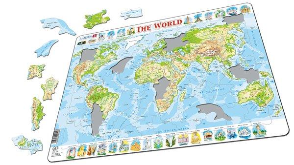 Larsen Пазл Мир (Английский) K4K4Пазл Мир. Физическая карта мира с названиями горных массивов, рек, пустынь, островов, океанов и др. В центре пазла изображена физическая карта мира с надписями на английском языке. Пазл состоит из 80 элементов. Серия Карты мира предназначен для детей от 6 лет. Многообразие форм вырубки и различные размеры отдельных элементов способствуют развитию мелкой моторики у малышей. Сделанные из высококачественного трехслойного картона, они не деформируются и легко берутся в руки. Все пазлы снабжены специальной подложкой, благодаря чему их удобно собирать