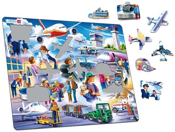 Larsen Пазл Аэропорт US27US27Красочное изображение международного аэропорта и пассажиров познакомит детей с особенностями путешествий на самолете. Пазл Ларсен состоит из большого количества деталей, которые удобно соединять между собой, последовательно складывая единую картинку. Многообразие форм и различные размеры отдельных элементов способствуют развитию мелкой моторики у малышей. Пазлы из высококачественного трехслойного картона не деформируются и легко берутся в руки. Все пазлы снабжены специальной подложкой, благодаря чему их удобно собирать.