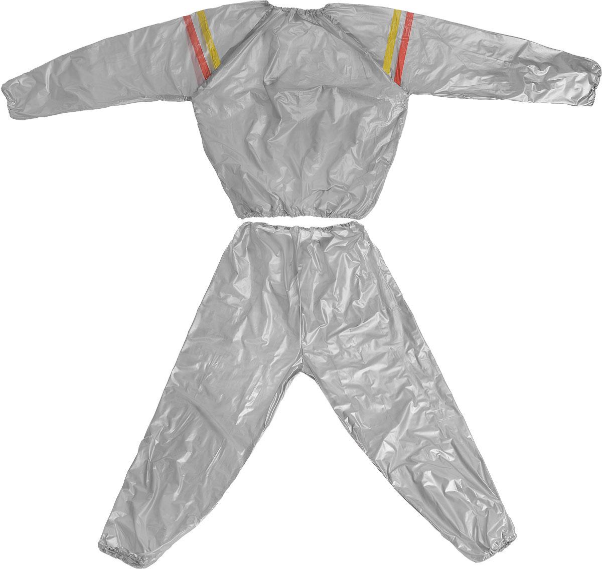 Костюм сауна Ironmaster, цвет: серый, желтый. Размер XLIR97901_XLКостюм-сауна Ironmaster изготовлен из ПВХ. Предназначен для интенсивного сброса веса во время занятий аэробикой и атлетикой. Эффект основан на тепловом балансе организма. Костюм-сауна, созданный для профессиональных спортсменов с целью быстрого сбрасывания веса перед соревнованиями, сегодня широко используется обычными людьми. Костюм подходит и для женщин, и для мужчин. При использовании этого костюма у вас пропадает лишний вес, калории сжигаются в несколько раз быстрее, чем во время обычных физических нагрузок, а вы выглядите с каждым днем все более привлекательно.