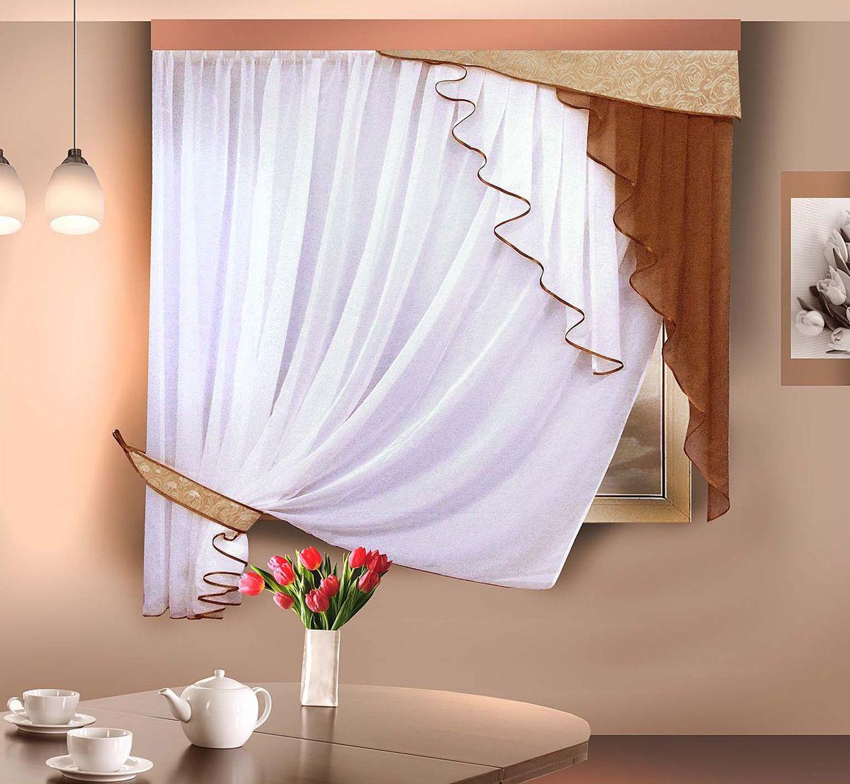 Комплект штор Zlata Korunka, на ленте, цвет: коричневый, белый, высота 170 см. 5554955549Комплект штор Zlata Korunka, выполненный из полиэстера, великолепно украсит любое окно. Комплект состоит из тюля и ламбрекена. Ассиметричная форма и приятная цветовая гамма привлекут к себе внимание и органично впишутся в интерьер помещения. Этот комплект будет долгое время радовать вас и вашу семью! Комплект крепится на карниз при помощи ленты, которая поможет красиво и равномерно задрапировать верх. В комплект входит: Тюль: 1 шт. Размер (Ш х В): 290 см х 170 см. Ламбрекен: 1 шт. Размер (Ш х В): 100 см х 170 см.