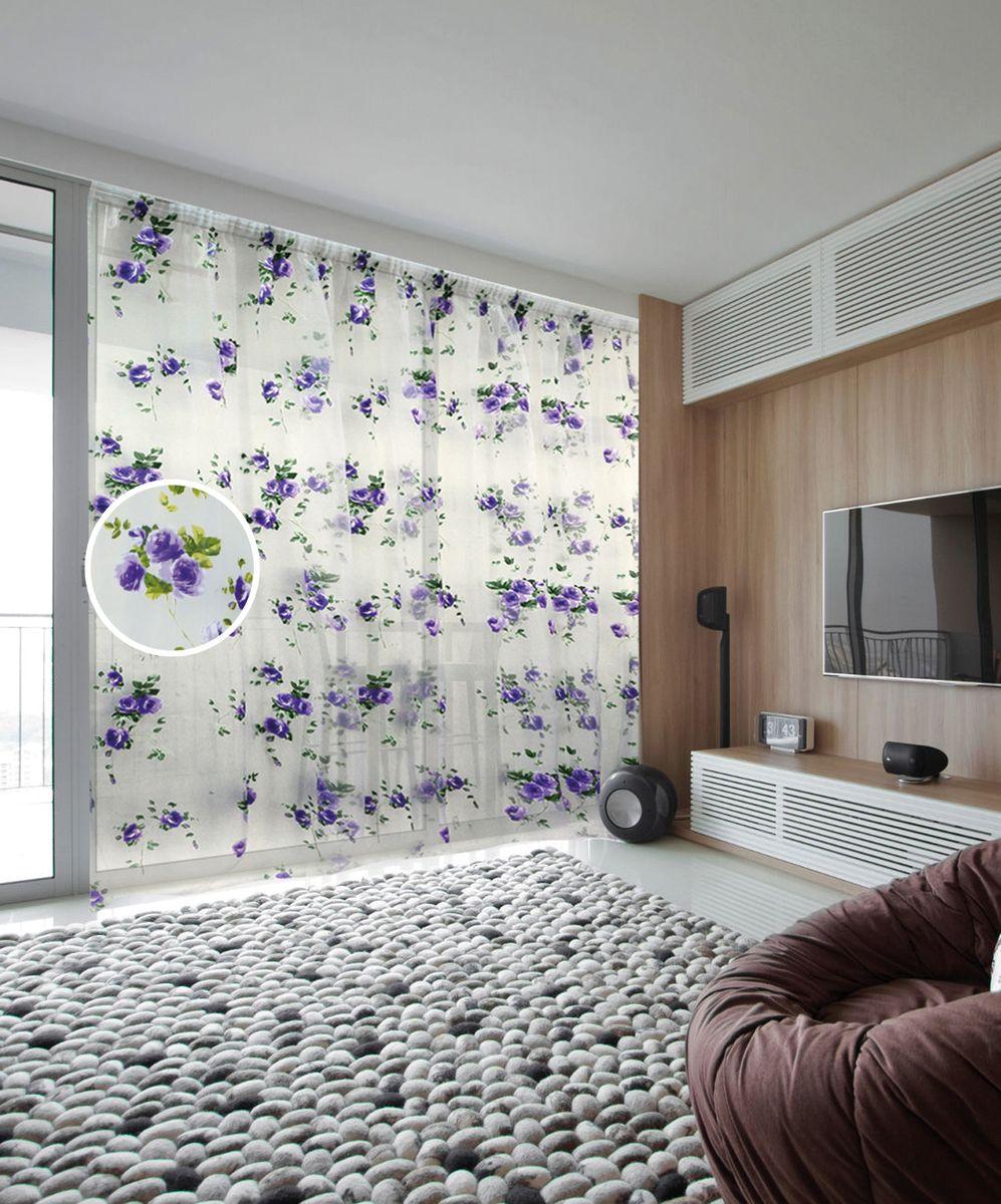 Тюль Zlata Korunka, на ленте, цвет: белый, фиолетовый, высота 250 см. 5555055550Тюль Zlata Korunka, изготовленный из органзы (100% полиэстера), великолепно украсит любое окно. Воздушная ткань и нежный цветочный рисунок привлекут к себе внимание и органично впишутся в интерьер помещения. Полиэстер - вид ткани, состоящий из полиэфирных волокон. Ткани из полиэстера - легкие, прочные и износостойкие. Такие изделия не требуют специального ухода, не пылятся и почти не мнутся. Тюль крепится на карниз при помощи ленты, которая поможет красиво и равномерно задрапировать верх. Такой тюль идеально оформит интерьер любого помещения.