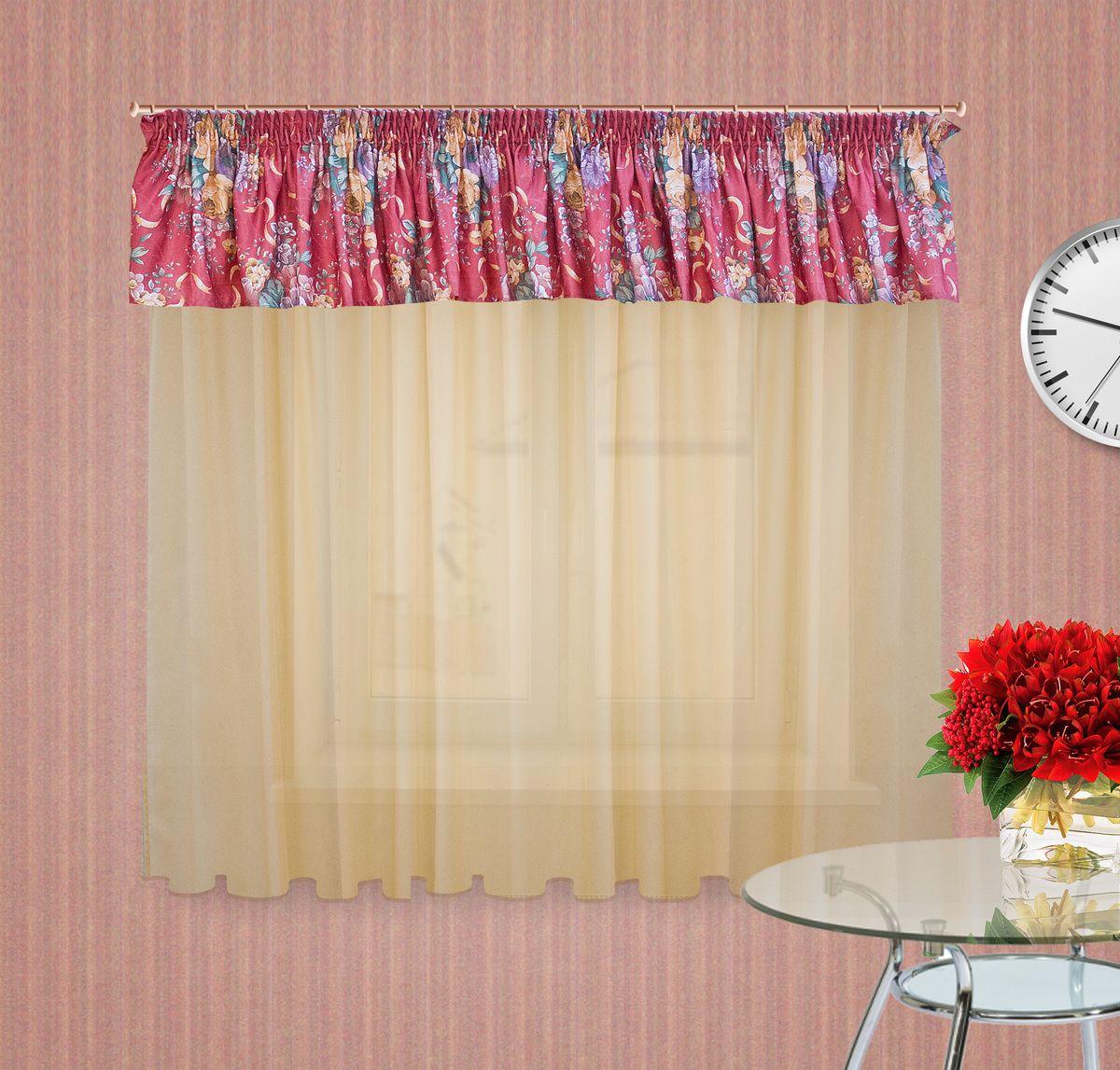 Тюлевое полотно Zlata Korunka. 5555355553Комплект штор на шторной ленте , Ламбрекен : 400*50см 1шт, ткань печатный сатен с орнаментом крупного цветка, Тюлевое полотно из вуали цвет: светлый беж размером: 300*180