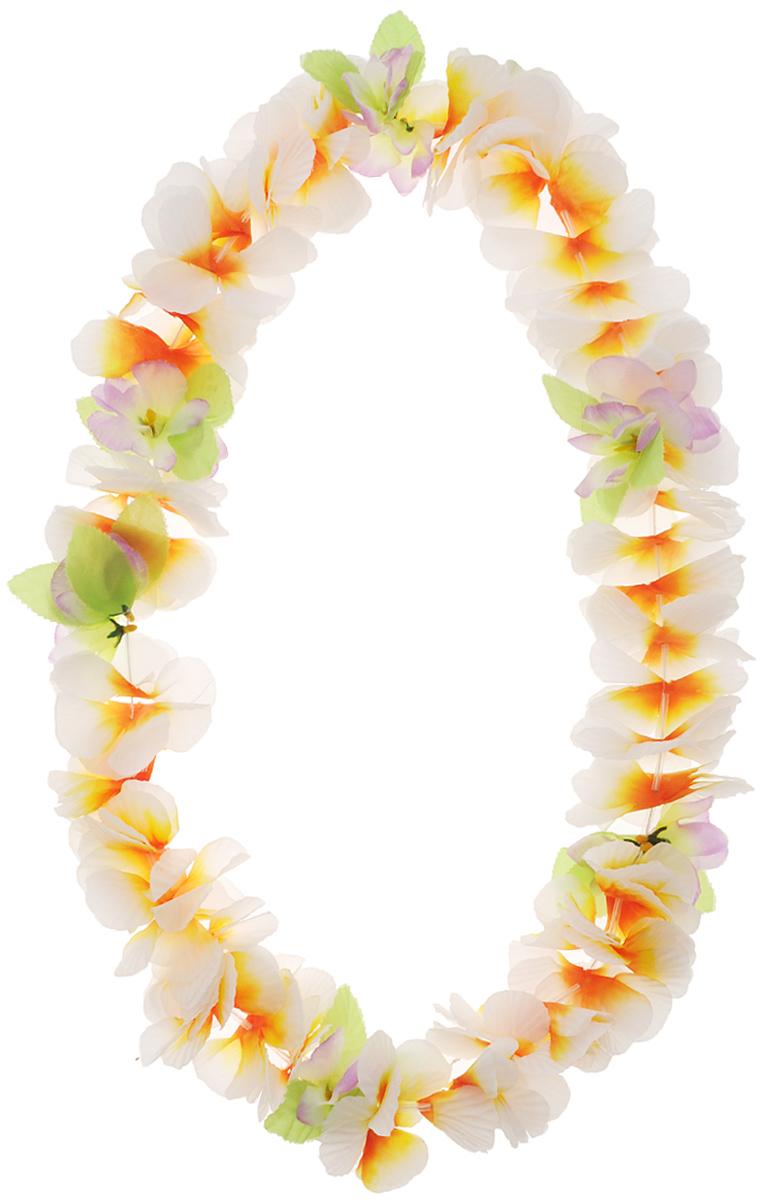 Amscan Карнавальное украшение на шею Гавайи Мягкий Лепесток1501-1973Оригинальное гавайское ожерелье из крупных бело-оранжевых цветов внесет нотку задора и веселья в праздник. Ожерелье станет завершающим штрихом в создании праздничного образа. Изделие выполнено из гофрированной ткани, длина бус - 101 см. С таким украшением вы всегда будете в центре внимания!
