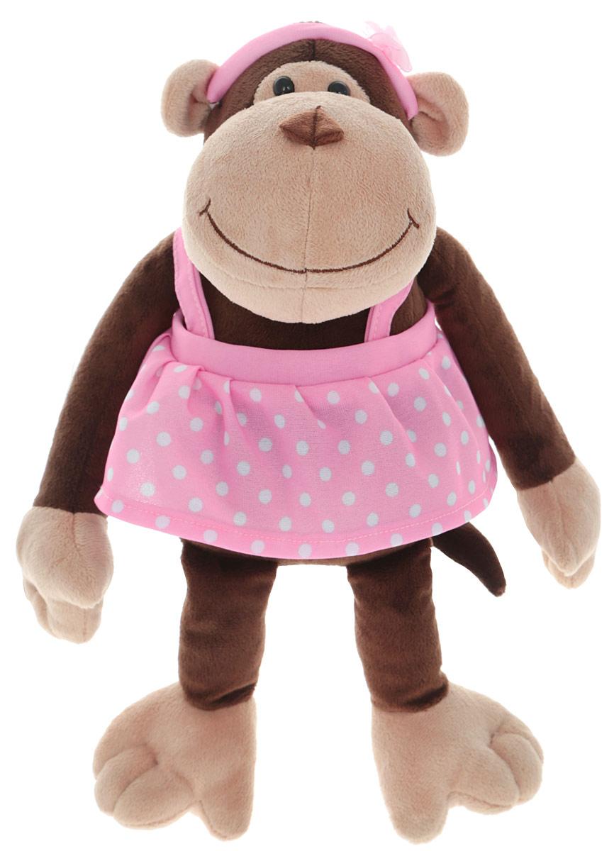 Gulliver Мягкая игрушка Обезьянка Анюта 21 см52-V41886-21CМягкая игрушка Gulliver Обезьянка Анюта - это чудесная обезьянка сможет стать отличным подарком для детей и взрослых. Изготовлена из качественных и безопасных материалов. Забавная обезьянка одета в сарафан розового цвета в горошек. Голову обезьянки украшает повязка с цветочком в тон сарафана. На мордочке обезьянки милая, добродушная улыбка. Великолепное качество исполнения делают эту игрушку чудесным подарком к любому празднику.