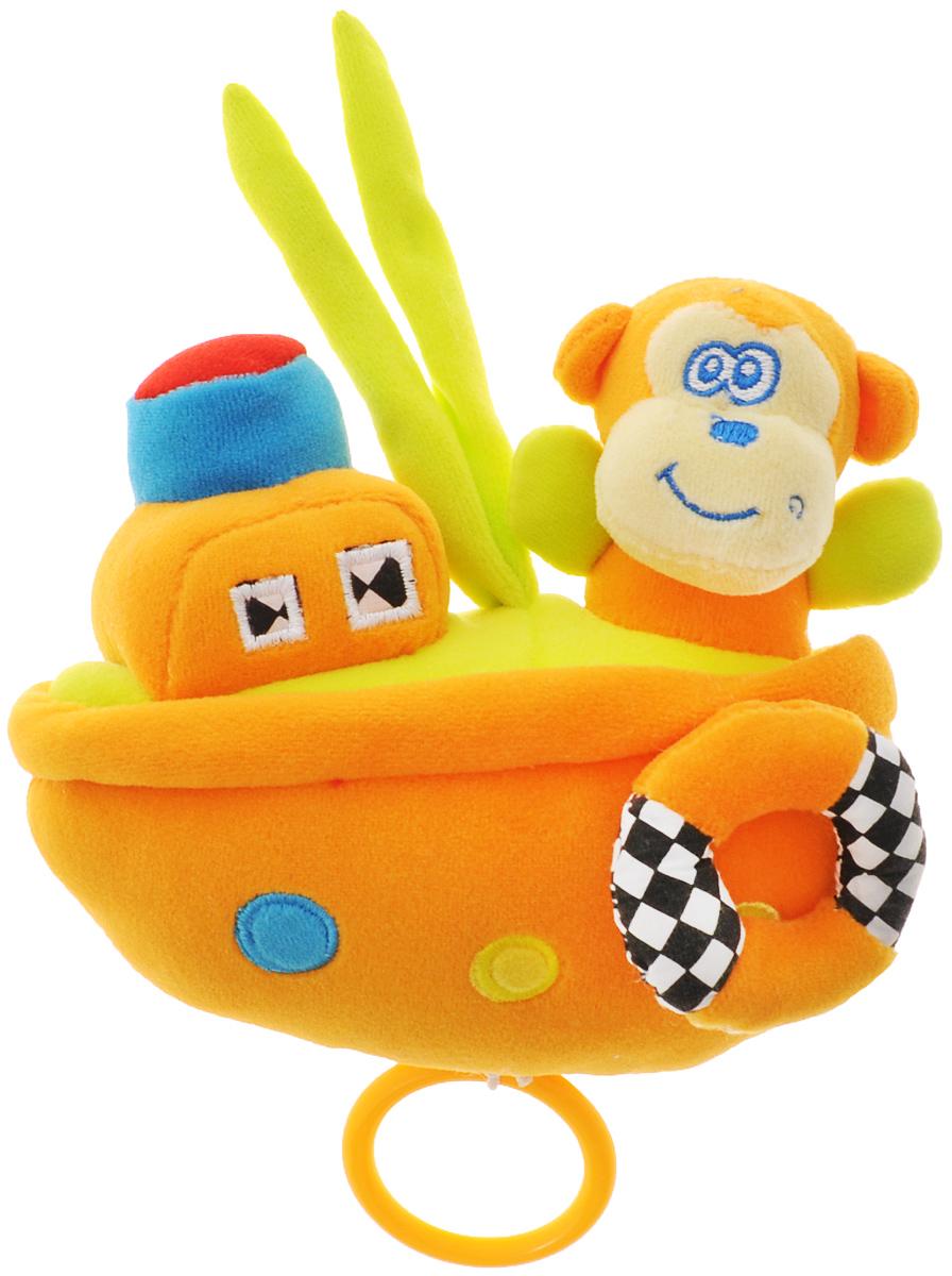 WSBD World Мягкая музыкальная игрушка Обезьянка на кораблике 16 смB-11089_обезьянкаМягкая музыкальная игрушка WSBD World Обезьянка на кораблике выполнена из мягких текстильных материалов в виде обезьянки, сидящей на маленьком корабле со спасательным кругом. Если потянуть за кольцо, расположенное внизу кораблика, заиграет музыка, словно из музыкальной шкатулки, и замигают красные огоньки на самой обезьянке.
