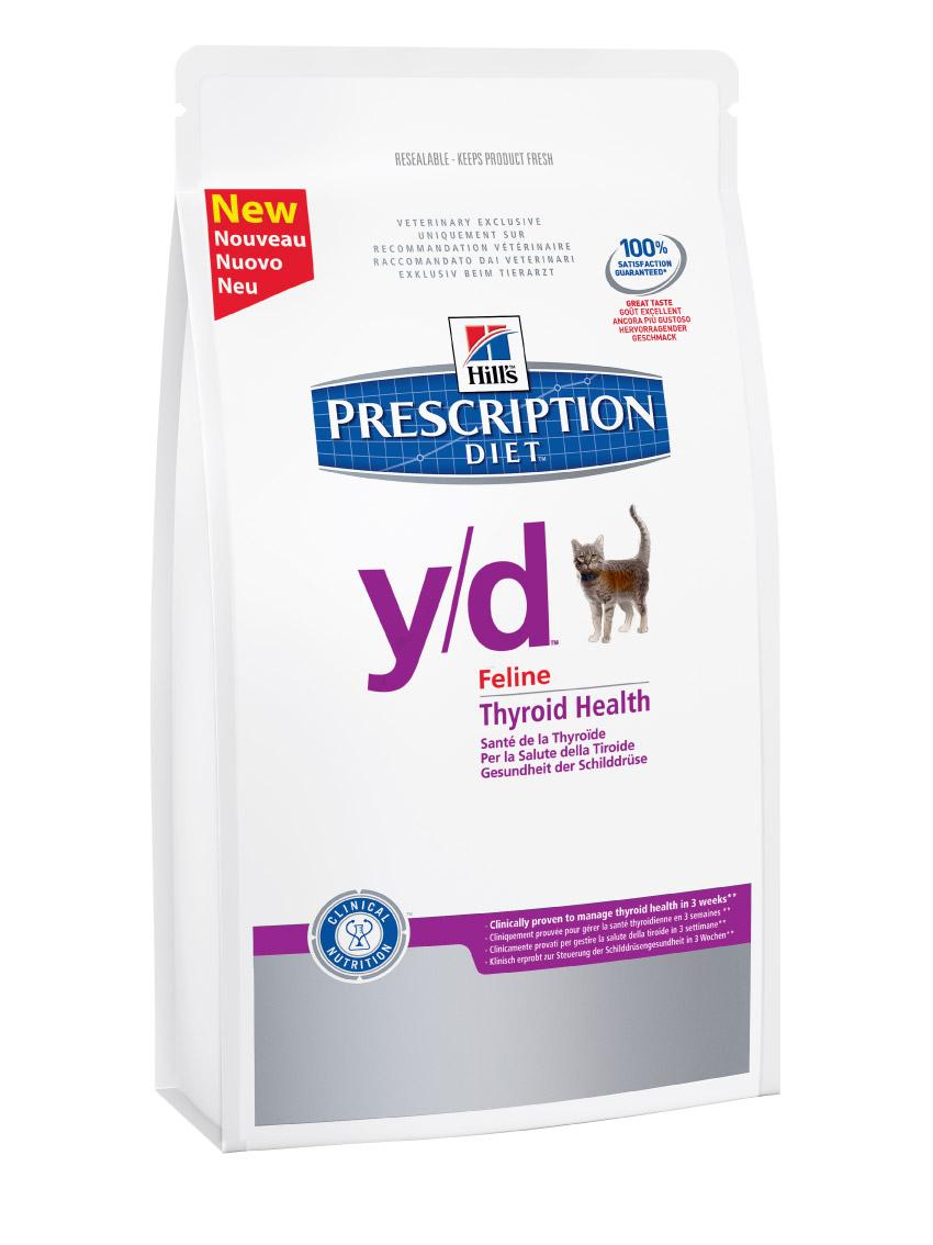 Сухой корм кошек Hills Prescription Diet y/d Feline Thyroid Health диета для лечения гипертиреоза 1,5кг, пакет1680Осуществляя покупку, я подтверждаю, что осведомлен о необходимости получения рекомендации ветеринарного специалиста не реже, чем раз в 6 месяцев для применения данного рациона. Рекомендуется • Кошкам с повышенной функцией щитовидной железы Не рекомендуется • Котятам • Беременным и лактирующим кошкам Ингредиенты сухого рациона Мука из кукурузного глютена, кукуруза, жиовтный жир, сухое цельное яйцо, семя льна, L-лизин, гидролизат белка, минералы, рыбий жир, Dl-метионин, L-карнитин, рис, таурин, витамины и микро-элементы. Содержит натуральные консерванты и антиоксиданты из натуральных источников. СРЕДНЕЕ СОДЕРЖАНИЕ НУТРИЕНТОВ В рационе Протеин 32,2 % Жиры 23,5 % Углеводы (БЭВ) 32,0 % Клетчатка (общая) 1,0 % Влага 5,6 % Кальций 0,80 % Фосфор 0,54 % Натрий 0,27 % Калий 0,86 % Магний 0,07 % Йод 0.18 мг/кг Омега-3 жирные кислоты 0,99 % Омега-6 жирные кислоты 3,64 % Таурин 1 970 мг/кг L-карнитин 505 мг/кг Витамин A10 12 700 МЕ/кг Витамин D10 435 МЕ/кг Витамин E10 610 мг/кг Витамин C10 110...
