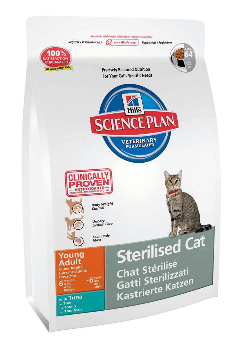 """Корм сухой Hill's """"Science Plan Feline Young Adult Sterilised Cat"""" для стерилизованных кошек от 6 месяцев до 6 лет, тунец, 3,5 кг 9355"""