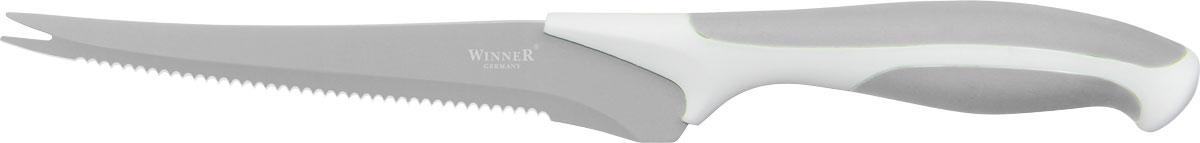 Нож для томатов Winner, цвет: серый, белый, длина лезвия 14,2 смWR-7222_серый, белыйНож Winner изготовлен из высококачественной нержавеющей стали с цветным полимерным покрытием Xynflon. Нож имеет острое лезвие, а благодаря специальному покрытию он держит заводскую заточку в несколько раз дольше, чем обычные стальные ножи. Продукты, которые вы нарезаете таким ножом, не прилипают к лезвию ножа, не вступают в химическую реакцию, не окисляются и не намагничиваются. Эргономичная рукоятка выполнена из высококачественного прорезиненного пластика. Рукоятка не скользит в руках и делает резку удобной и безопасной. Такой нож желательно использовать для нарезки овощей. Этот нож будет служить вам многие годы при соблюдении простых правил. Можно мыть в посудомоечной машине. Общая длина ножа: 24,7 см. Длина лезвия: 14,2 см. Толщина лезвия: 1,2 мм.