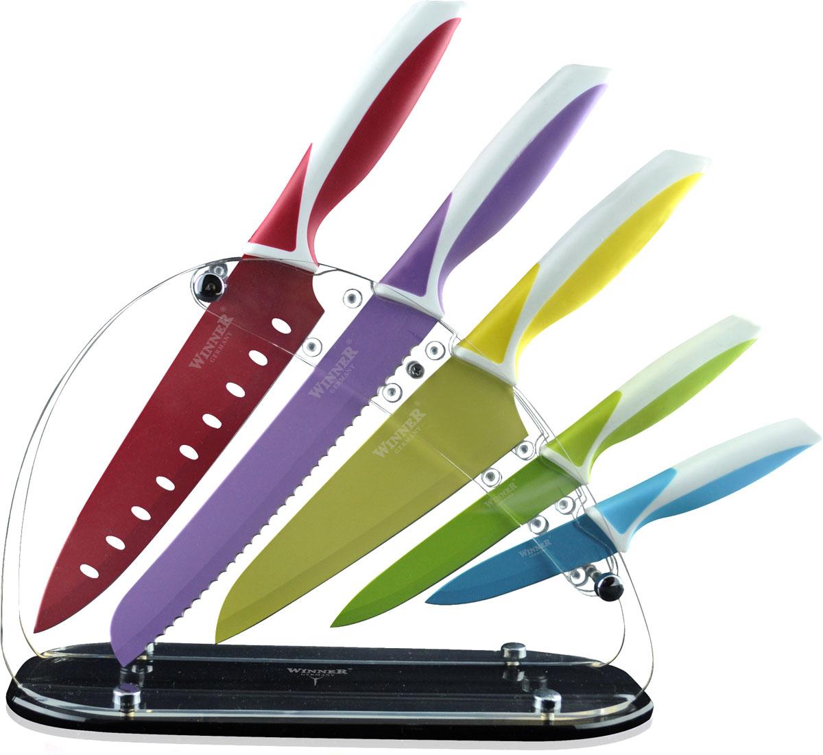 Набор ножей Winner, 6 предметов, цветн. WR-7328WR-73286пр. на подставке из акрила. Ножи: поварской (32/19,5см), для резки хлеба (32/20,5см), Сантоку (30/16,5см), универсальный(23/12,7см), для очистки(19,5/9см). Лезвие 1,2-1,8мм с цв. покрытием, ручка из прорезин. пластика с антибакт. покрытием. Состав: нержав. сталь.