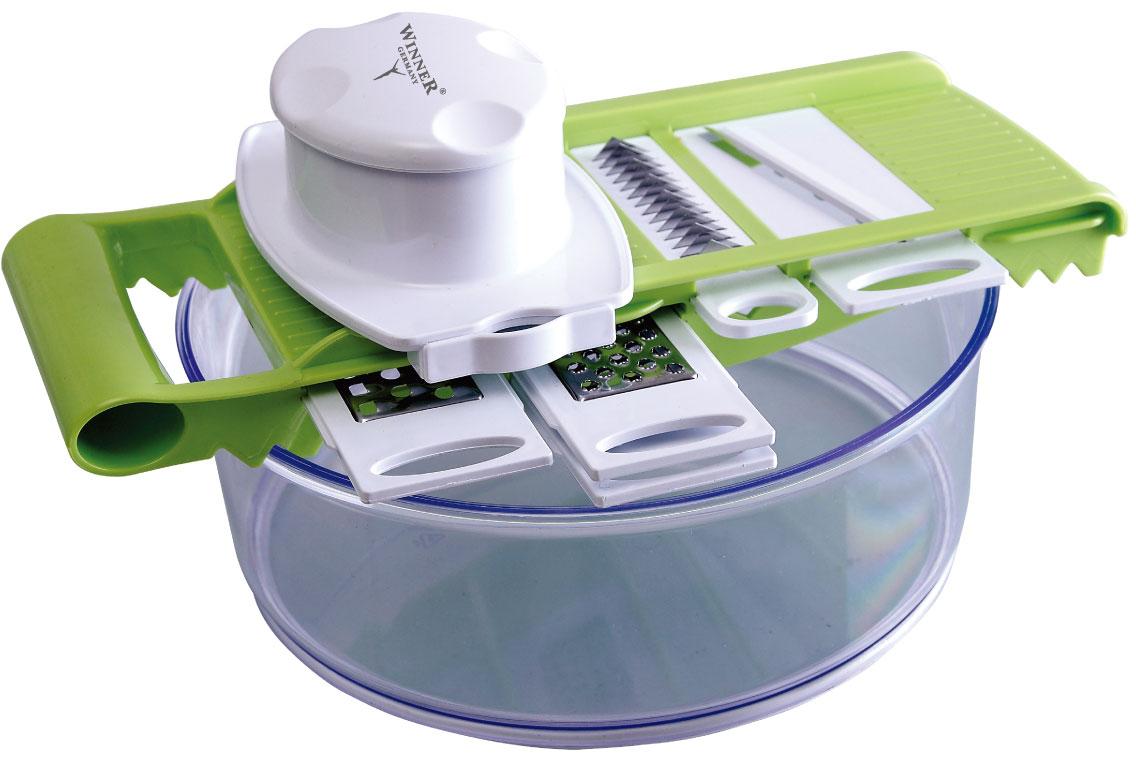 Овощерезка мн.-функ. WR-7402WR-7402В наборе: чаша 2,5л(24см), держатель для ножей, держатель для продуктов, ножи: для крупной нарезки, для мелкой нарезки, для нарезки сыра, для шинкования, для нарезки тонкими ломтиками, Состав: пластик пищевой, лезвия из нержав. стали.