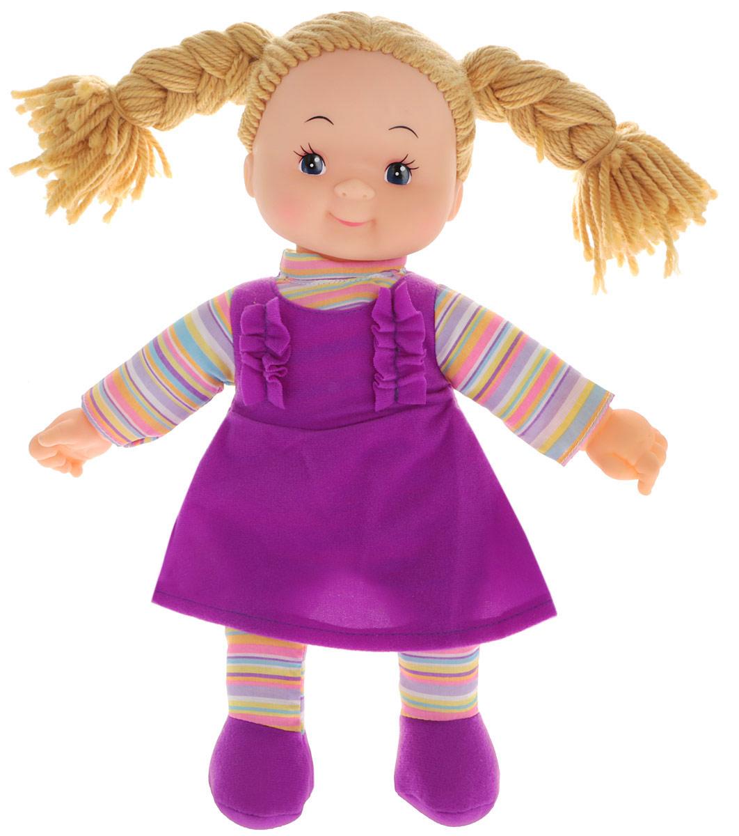 Simba Кукла мягкая Долли цвет платья фиолетовый5112238_волосы бежевые, платье фиолетовоеМягкая кукла Simba непременно понравится малышке, она быстро привлечет внимание своей яркой расцветкой, добрым взглядом и красивым ярким нарядом. Малышка с удовольствием придумает много детских игр, которые от души порадуют девочку и подарят хорошее настроение на целый день. Кукла одета в пышное платье фиолетового цвета. Очаровательные бежевые волосы, сплетенные из нитей, дополняют прекрасный образ куклы. Мягкая кукла Simba развивают тактильную чувствительность, стимулируют зрительное восприятие, хватательные рефлексы и моторику рук.