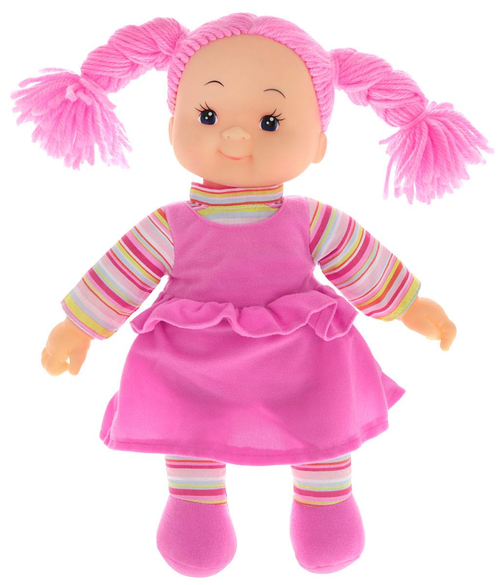 Simba Кукла мягкая Долли цвет платья светло-сиреневый5112238Мягкая кукла Simba непременно понравится малышке, она быстро привлечет внимание своей яркой расцветкой, добрым взглядом и красивым ярким нарядом. Малышка с удовольствием придумает много детских игр, которые от души порадуют девочку и подарят хорошее настроение на целый день. Красивая и мягкая на ощупь кукла обязательно заинтересует малышку и увлечет ее в мир удивительных игр. Кукла одета в пышное платье сиреневого цвета. Очаровательные волосы розового цвета, сплетенные из нитей, дополняют прекрасный образ куклы. Мягкая кукла Simba развивают тактильную чувствительность, стимулируют зрительное восприятие, хватательные рефлексы и моторику рук.