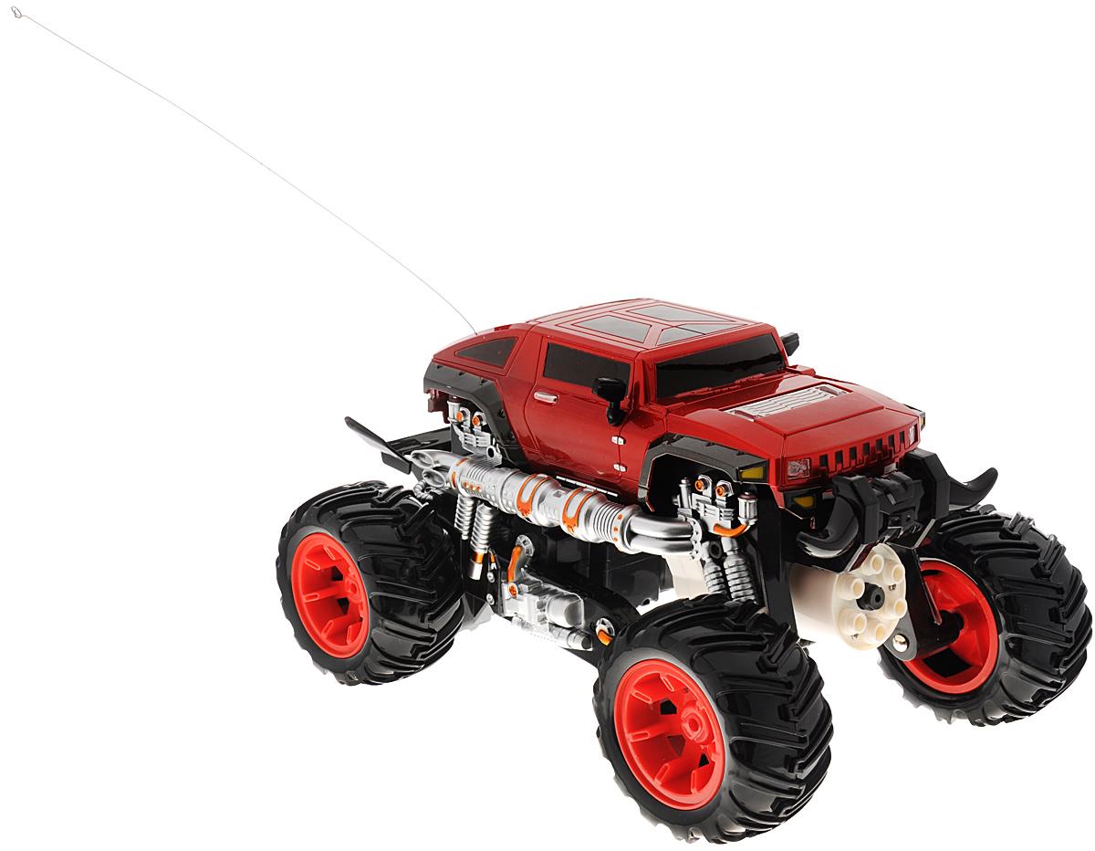 Tongde Машина на радиоуправлении Монстр цвет красныйВ72139Машина на радиоуправлении Tongde Монстр обязательно привлечет внимание и взрослого, и ребенка, и несомненно понравится любому мальчишке. Игрушка выполнена в виде монстр-трака, оснащенного мощной шестизарядной пушкой. Детализированный корпус модели изготовлен из пластика. Уникальный в своем роде танк. Он не только ездит по земле, но он еще и способен плавать. Трансформация производится нажатием на одну кнопку. После трансформации машина превращается в боевого робота, стреляющего из шестизарядной пушки. Машинка двигается вперед, назад, влево, вправо, поворачивается на 360° на месте. Лазерный прицел, а также оригинальные световые и звуковые эффекты сделают игру незабываемой и увлекательной. Пульт управления имеет удобные эргономичные ручки, благодаря чему прекрасно ложится в руку. В комплект также входят 6 стрел-присосок. Ваш ребенок часами будет играть с моделью, придумывая различные истории и устраивая соревнования. Порадуйте его таким замечательным подарком! ...