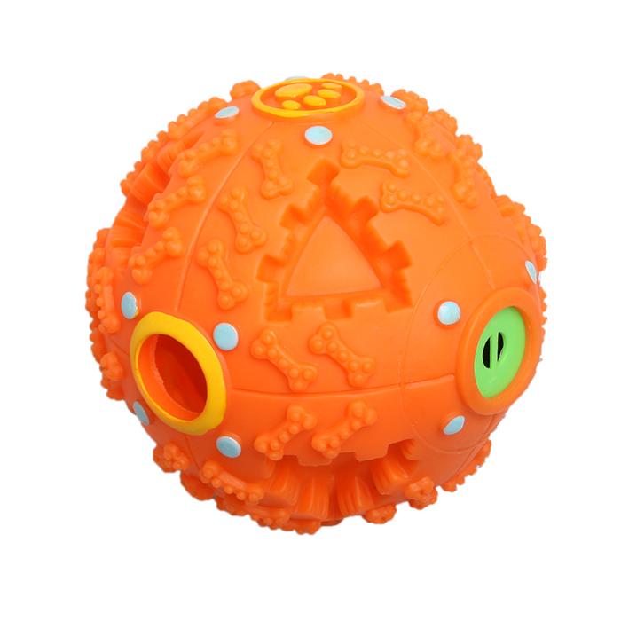 Игрушка Ziver Мяч звуковой Размер: 10 см, цвет: оранжевый40.ZV.146Игрушка Звуковой мяч  - для собак (крепкий - сложно разгрызаемый) с отверстием для снека Размер: 10 см., Цвет: розовый Материал: пластик Звук: туба (переливающийся звук) Производитель ZIVER