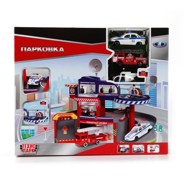 ТехноПарк Гараж Парковка со спуском33558-RТеперь мальчик может стать владельцем парковки, которая увлечет его в интересную игру. Парковка со спуском. В набере 2 металлические машинки и вертолет.