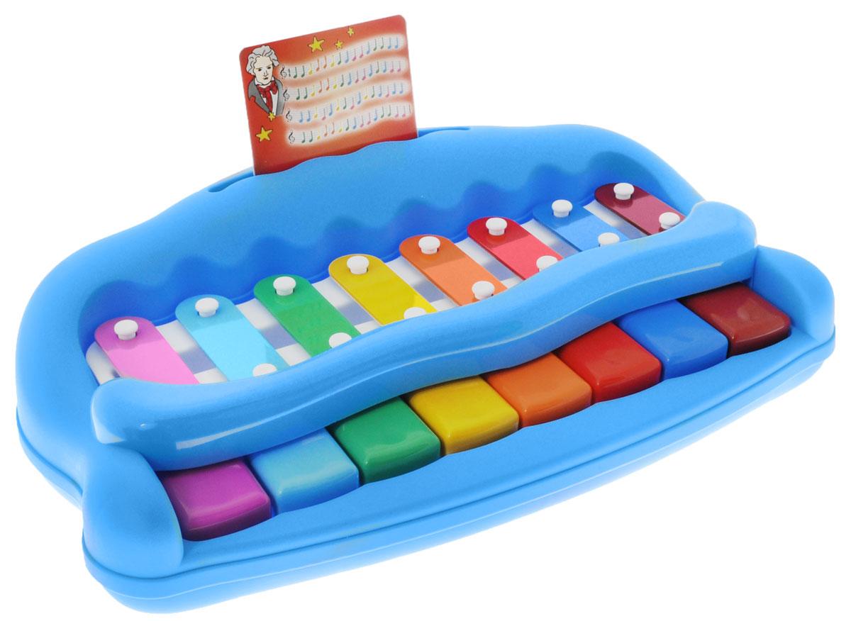 Simba Музыкальная игрушка Пианино цвет голубой4011879_голубойМузыкальная игрушка Пианино обязательно порадует малыша. Игрушка придется по душе всем детям, которые любят музыку, так как с помощью данной модели можно извлекать самые необычные звуки. Пианино имеет 8 клавиш - октаву. Для игры в комплекте имеются специальные музыкальны карточки, которые помогут малышу играть и воспроизводить различные мелодии. Игрушка развивает мелкую моторику, мышление, зрительное и звуковое восприятие, повышает двигательную активность малышей. Подарите своему малышу его первое пианино и, возможно, в будущем у вас вырастет настоящий музыкант! Рекомендуемый возраст: от 18 месяцев.