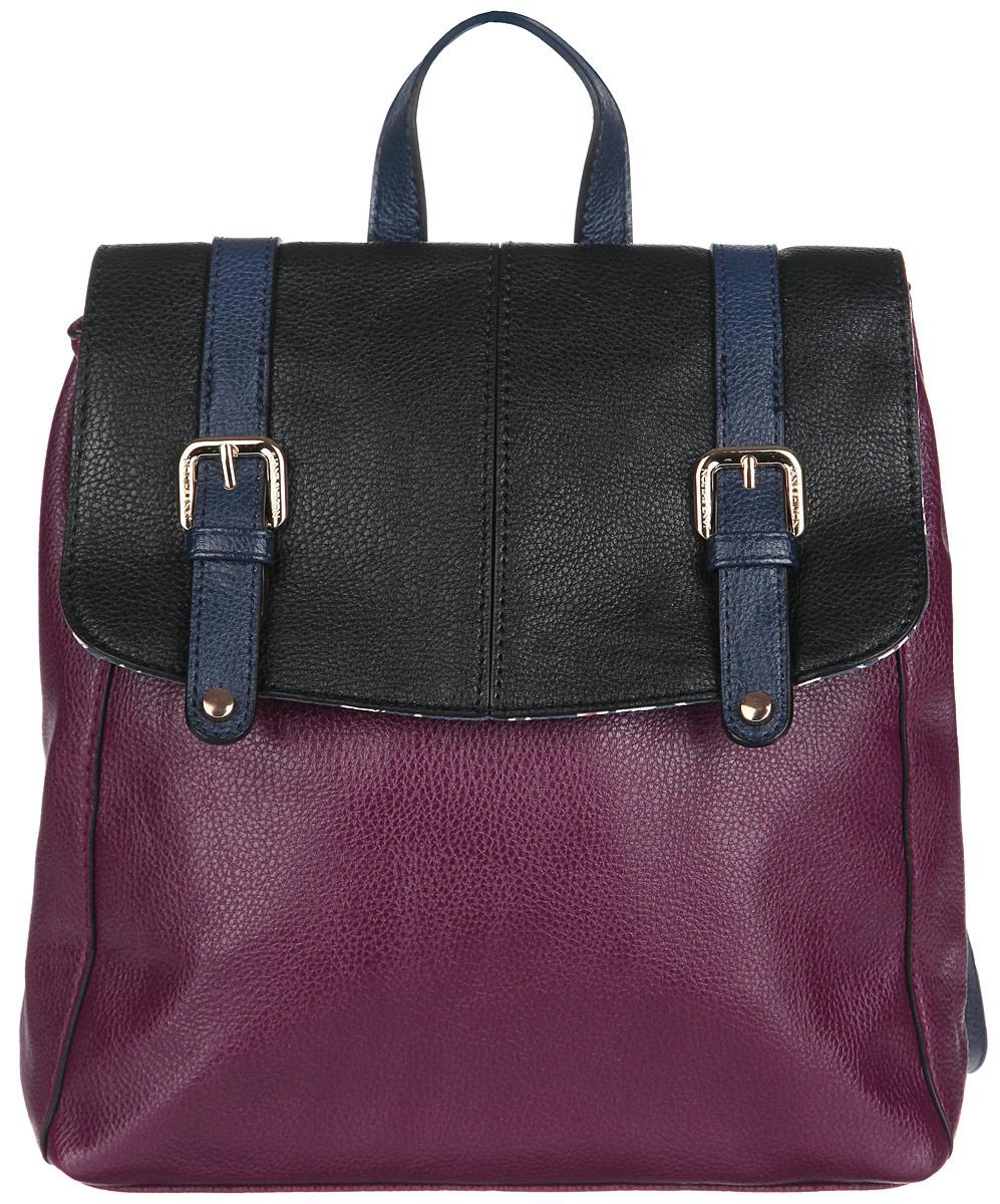 Рюкзак женский Jane Shilton, цвет: пурпурный, черный, темно-синий. 1922