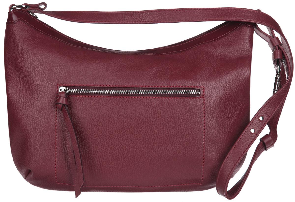 Сумка женская Afina, цвет: бордовый. 210210Стильная женская сумка Afina выполнена из высококачественной натуральной кожи с зернистой фактурой и оформлена спереди крупной прострочкой. Сумка содержит одно основное отделение, закрывающееся на застежку-молнию. Внутри - 3 накладных кармана (два из них - для мобильного телефона и различных мелочей) и 2 прорезных кармана на молнии. На лицевой и тыльной сторонах сумки расположены прорезные карманы на застежке-молнии. Изделие оснащено ремнем регулируемой длины. Ремень украшен металлическими заклепками. Изящная сумка подчеркнет вашу уникальность и станет финальным штрихом в создании неповторимого образа.