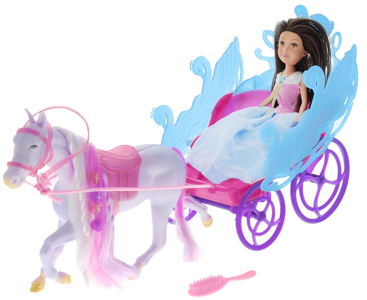 ABtoys Игровой набор Принцесса в экипаже брюнетка2400077_брюнеткаИгровой набор ABtoys Принцесса в экипаже обязательно порадует вашу малышку и доставит ей много удовольствия от игры. Набор включает в себя принцессу, лошадку и экипаж. Кукла с темными волосами одета в красивое платье принцессы розово-голубого цвета. На ногах голубые туфельки. Лошадка, запряженная в экипаж принцессы, имеет красивую разноцветную гриву с заплетенными косичками и украшенную заколками. В комплект также входит расческа. Brilliance Fair - милые подружки! Эти девочки могут развлекаться и никогда не устают друг от друга! Их невероятно привлекательные наряды делают их абсолютными королевами любой вечеринки! Порадуйте свою малышку таким великолепным подарком!