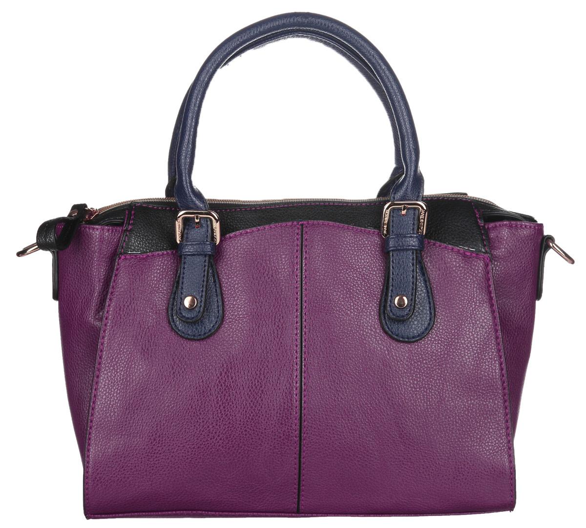 Сумка женская Jane Shilton, цвет: пурпурный, темно-синий, черный. 19231923m_purpleОригинальная женская сумка Jane Shilton выполнена из искусственной кожи с фактурным тиснением. Изделие имеет одно основное отделение, которое закрывается на застежку-молнию. Внутри имеется прорезной кармашек на застежке-молнии и открытый пришивной карман для телефона. Снаружи на передней и задней стенках располагаются пришивные карманы, которые закрываются на магнитные кнопки. Модель оснащена двумя ручками и съемным плечевым ремнем. Роскошная сумка внесет элегантные нотки в ваш образ и подчеркнет ваше отменное чувство стиля.