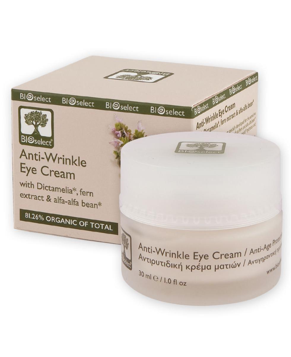 BIOselect Крем от морщин вокруг глаз, 30 мл5200306431217Натуральные экстракты папоротника и ростков люцерны делают кожу упругой и разглаживают морщины вокруг глаз, в то время как Диктамелия успокаивает и увлажняет тонкую и нежную кожу вокруг глаз.