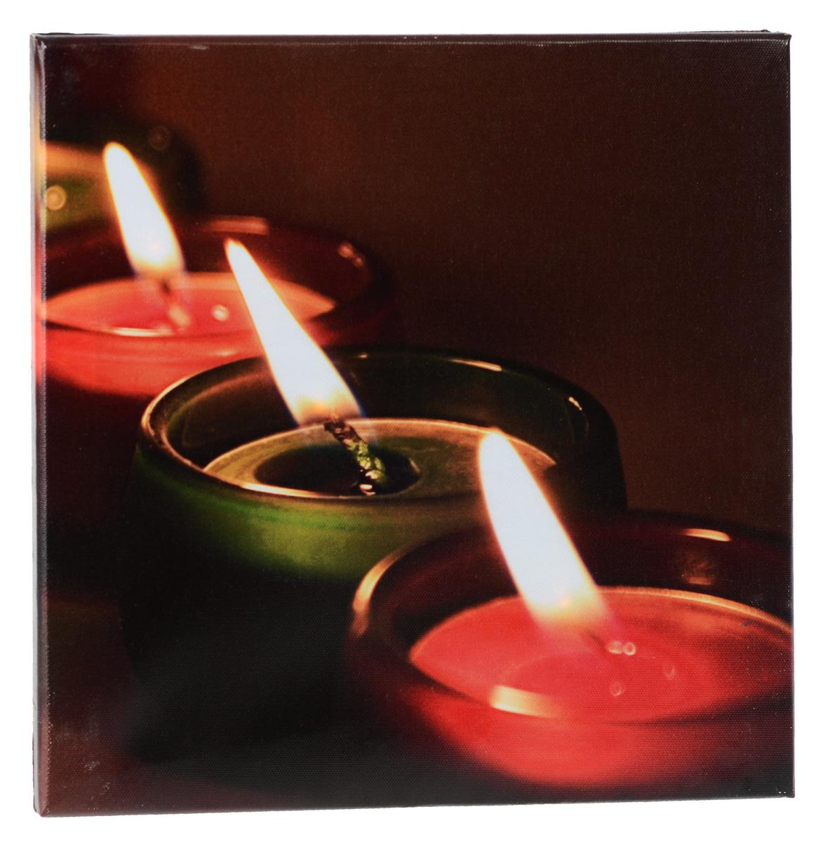 Картина MTH Три свечи, со светодиодами, 30 см х 30 смled3030-02Картина MTH Три свечи выполнена на основе из МДФ, обтянутой холстом. Изделие оснащено светодиодами. Их теплый мерцающий в темноте свет оживит ваш дом и добавит ему уюта. На картине изображены 3 декоративные свечи. Благодаря светодиодной подсветке создается ощущение, что теплый свет, исходящий от свечей, действительно может согревать. С оборотной стороны картина оснащена специальным отверстием для подвешивания на стену. Необычная картина придаст интерьеру невероятного шарма и оригинальности. Рисунок успокаивает нервную систему, помогая расслабиться и отвлечься от повседневных забот. Подсветка работает от 2 батареек типа АА напряжением 1,5V (в комплект не входят).