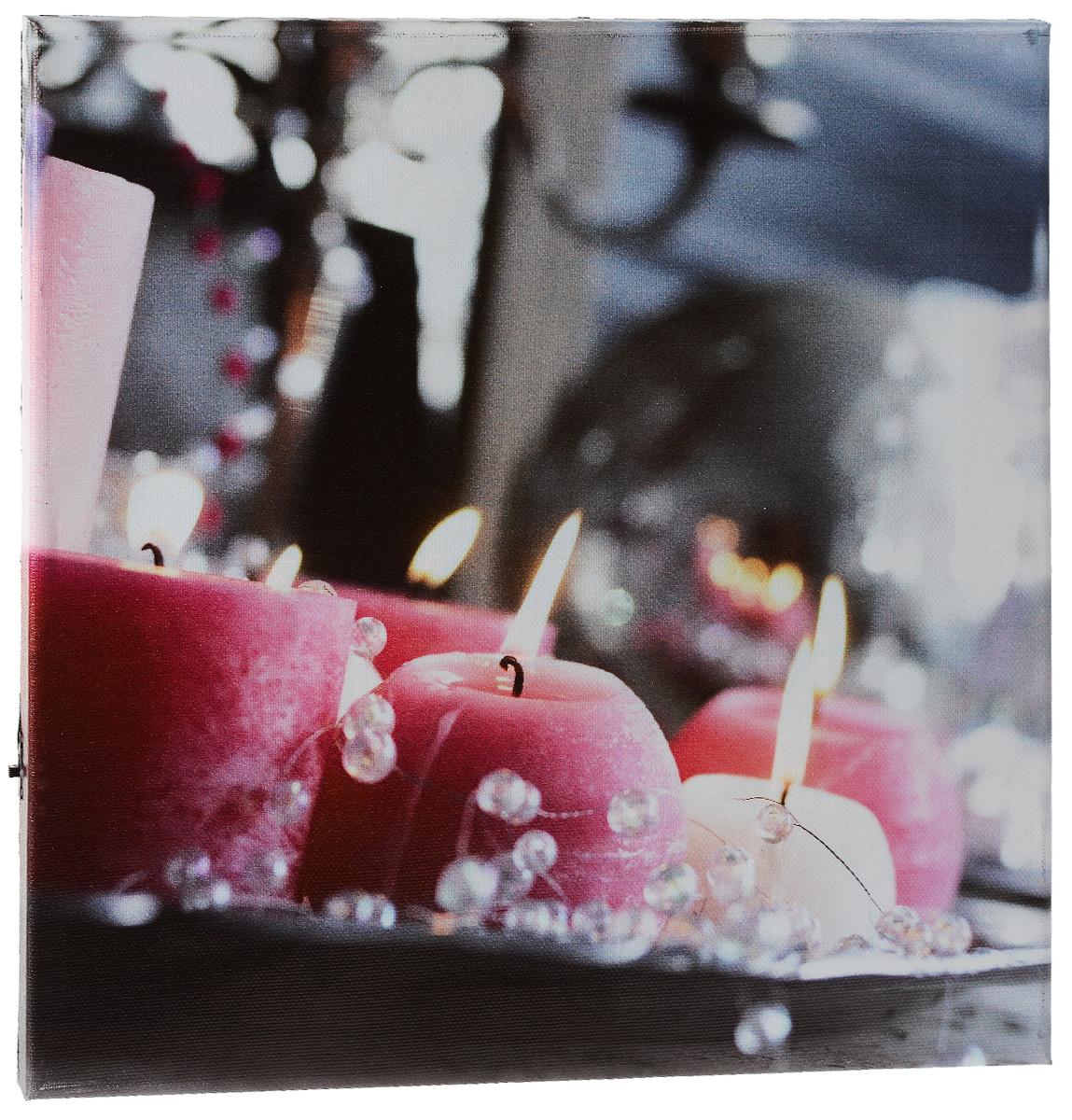 Картина MTH Свечи и бусы, со светодиодами, 30 х 30 смled3030-01Картина MTH Свечи и бусы выполнена на основе из МДФ, обтянутой холстом. Изделие оснащено светодиодами. Их теплый мерцающий в темноте свет оживит ваш дом и добавит ему уюта. На картине изображены декоративные свечи с бусами. Благодаря светодиодной подсветке создается ощущение, что теплый свет, исходящий от свечей, действительно может согревать. С оборотной стороны картина оснащена специальным отверстием для подвешивания на стену. Необычная картина придаст интерьеру невероятного шарма и оригинальности. Рисунок успокаивает нервную систему, помогая расслабиться и отвлечься от повседневных забот. Подсветка работает от 2 батареек типа АА напряжением 1,5V (в комплект не входят).